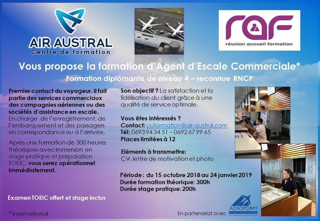 Air Austral Ouvre Sa Formation D Agent D Escale Commerciale